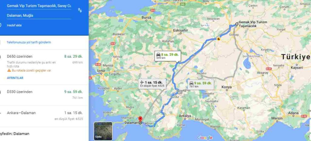 Ankara-Fethiye-Dalaman-Transfer